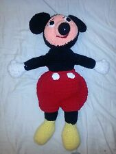 Vintage crochet mickey mouse  23 inch Doll EUC Collectible