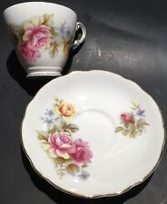 Vintage Regency English Tea Cup and Saucer Set,  Bone China Made In England Rose