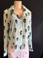 Green black skulls About a Girl sheer loose long sleeve career top goth punk S