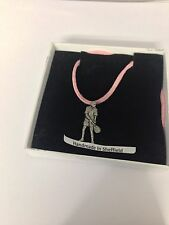 Tennis Player PP-SP03 Pewter Pendant on a PINK CORD Necklace