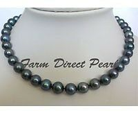 "16"" Inch Choker Genuine 9-10mm ROUND Black Pearl Necklace Cultured Freshwater"