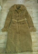 Beige Brown Cord Corduroy Coat 8 10 S Hippy Boho Shaggy Faux Fur Retro 1970's
