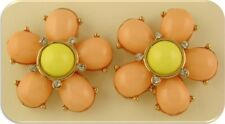 2 Hole Slider Beads QTY 2 Flowers Peach & Yellow Lucite 2 Layer w/Clear Crystals