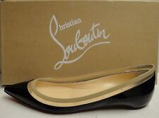 Christian Louboutin Paulina Black/Beige Patent Leather PVC Pointed Flats 40