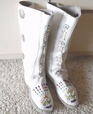 Vintage Taos Mox 'Indian Maid' Beaded Moccasin Boots White Silver-Tone Buttons