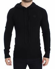 NWT $1700 DOLCE & GABBANA Black Cashmere Silk Hooded Sweater Pullover IT50 / L