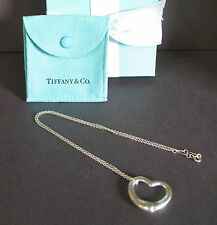 """Tiffany Co Sterling Silver Large 27mm Elsa Peretti Open Heart 18"""" Necklace Box"""