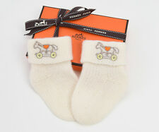 "BRAND NEW HERMES ""ADADA"" BABY 100% CASHMERE SOCKS WHITE BLANC GREAT NEWBORN GIFT"