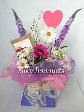 Mothers Day Silk Flower Bouquet in a Box Artificial Arrangement Hospital Gift