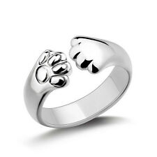 Women Cat Paw Claw Open Ring Silver Plated Finger Ring Animal Jewelry Gift LC