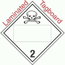 Blank Window Toxic Gas Class 2.3 Laminated Tagboard Placard (Pack of 50)
