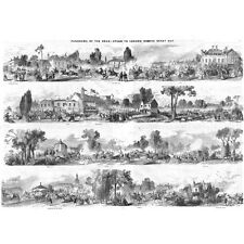 Panorama of the Road from Epsom to London on Derby Day - Antique Print 1846
