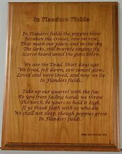 In Flanders Fields cherry wooden wall Plaque present memorial house WW1 poem