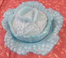Vintage Opaque Blue Milk Glass Cabbage Leaf  Serving Or Candy Dish With Lid