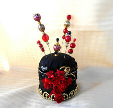 Handmade Black, Red & Gold Pin Cushion with Six Pretty Hat/Scarf Pins - Sewing