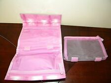 Vtg Clinique Make Up Bag 2 Piece Tie Dye Pink Purple Cosmetic Case Zipper Mesh