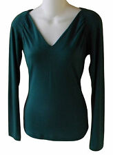 Baby Phat Womens Pullover Hooded Top Size XS Hunter Green V-Neck Stretch Blouse