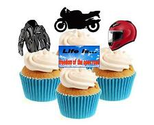 Novelty Motorbike / Biker Mix 12 Edible Stand Up wafer paper cake toppers