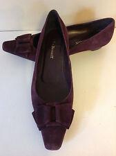 L.K. BENNETT beautiful deep purple suede ALL LEATHER low heel flat shoes 41 UK 8