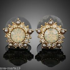 Sunflower Swarovski Stellux Austrian Crystal 18k Gold Plated Women Stud Earrings