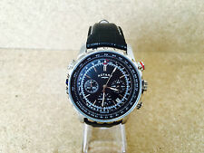 7 ROTARY MENS PILOT STYLE WATCH BLACK LEATHER STRAP CHRONOGRAPH GS03632/04