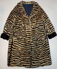 Vtg 60s Mod Print Mouton Lamb Fur TIGER STRIPE Coat 6/8 POP ART Warhol Jacket