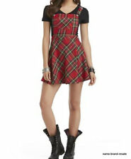BONGO NWT $42 Red Plaid SKIRTALLS Juniors Size M Overalls Mini Skirt NEW Punk