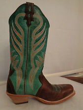 TWISTED X western cowboy boots women's size 7 1/2 B teal & brown 100% leather