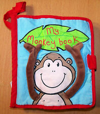 "Jelly Cat Soft Cloth Baby Toddler ""My Monkey Book"" - Crinkly - VGC"