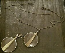ANTIQUE PAIR SILVER FOLDING OPTICAL LENS MAGNIFYING GLASS MONOCLE WATCH CHAIN