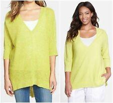 NWT Eileen Fisher SZ S  Honeydew Linen Cotton Knit Deep V-Neck  Top Tunic $178