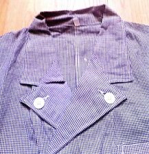French 1950s Men Workwear Work Chore Jacket - Blue & White Houndstooth - New - L
