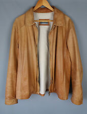 Pal Zileri Sport jacket leather tan brown distressed soft Size 52 UK 42