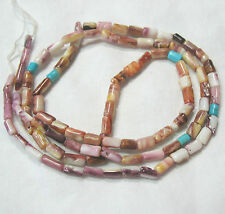 """Natural Spiny Oyster Shell 3-7mm Tube Purple Orange White Beads 22"""" w/Turquoise"""