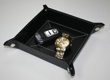 BLACK CARBON FIBER COIN TRAY CATCHALL KEYS PHONE JEWELRY WALLET VALET MENS GIFT