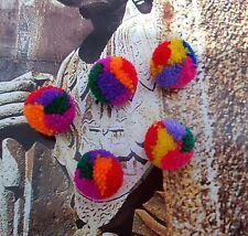 Lot de 10 petits pompons ethnique en laine filée multicolore diamètre 1,5 cm
