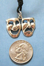 "Comedy Tragedy Masks Necklace BROADWAY Drama Theater Silver Charm 16""-28"" NEW!"