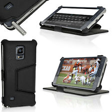 Black PU Leather Skin Stand Case for Samsung Galaxy Note 4 SM-N910 Flip Cover