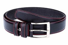 """Golf belts for Men Black perforated leather belt Red stitch Dress trousers 34"""""""