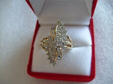 Estate Diamond Solid10K Yellow Gold Cocktail Cluster Ring