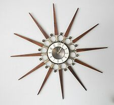 ELGIN Vtg Mid Century Danish Modern Wood STARBURST Sunburst Atomic Wall CLOCK