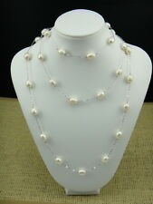 Freshwater Big Pearl Necklace Rhodium Plated 925 Sterling Silver Multiple Chains