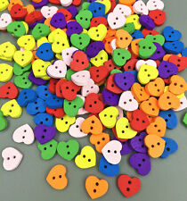 DIY Multicolor 100 PCs Wood Buttons Sewing Scrapbooking heart shape 2 Holes 12mm