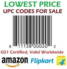 100 Codes UPC/ EAN Certified Bar-Codes For Listing On eCommerce Amazon, Flipkart