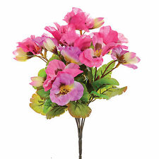 Artificial Silk Flowers Pansy Bunch Fake Pansies Pink 10 inch