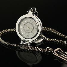 Pocket Watch Magnifier Chain Roman Quartz Vintage Silver Retro Reading Glass