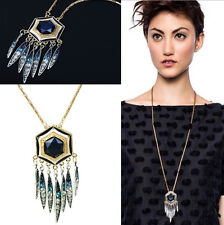 Womens Long Chain Tassel Crystal Feather Statement Necklace Bib Xmas Jewelry #ba