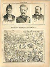 CARICATURE OUVERTURE DE LA CHASSE DOM LUIS PORTUGAL 1889 GRAVURE ANTIQUE PRINT