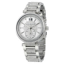 Michael Kors MK6281 Silver Sawyer Crystal Paved Dial Women's Watch - New in Box
