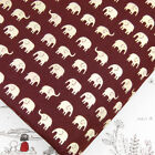 FQ LITTLE CREAM ELEPHANT on CRIMSON RED JAPANESE 100% Cotton Fabric Quilting J75